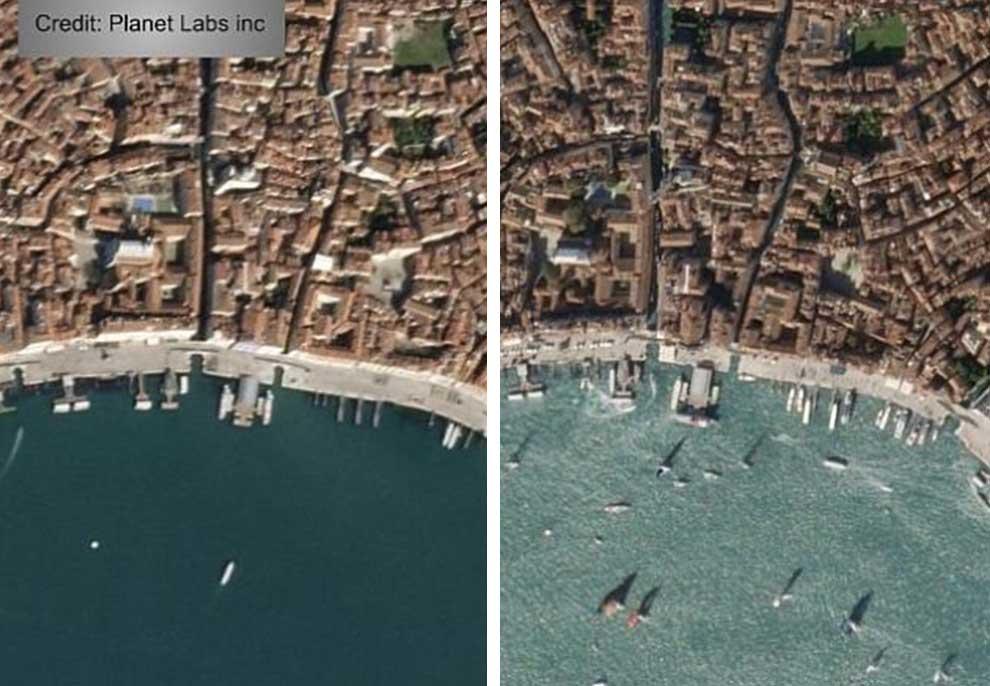Foto nga satelitët/ Para dhe pas Koronavirusit