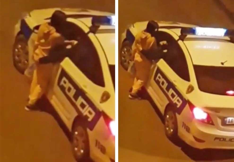 VIDEO/ Polici në shërbim bën skena të turpshme, prek në vende intime vajzën në mes të rrugës