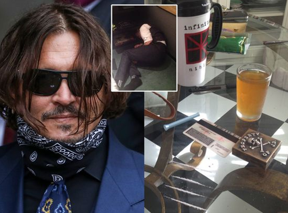 Drogëra në tavolinë, aktori i shtrirë në tokë pas konsumit të alkoolit/ Në gjyq shfaqen fotot kur Johnny Depp e tepronte me lëndët narkotike dhe pijet