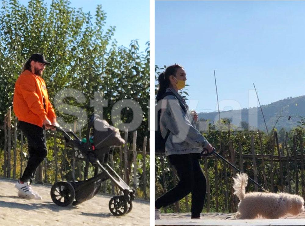 PAPARAZZI/Në familjen e Kastro Zizos janë të ndara detyrat, burri shëtit fëmijën kurse gruaja qenushin!