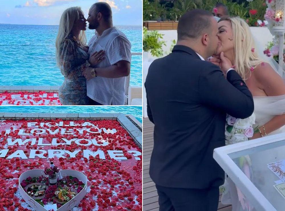 """Zyrtarisht të martuar! E veshur me të bardha, Fjolla Morina i thotë """"PO"""" Fisnik Sylës, ja pamjet nga ceremonia në Maldive"""