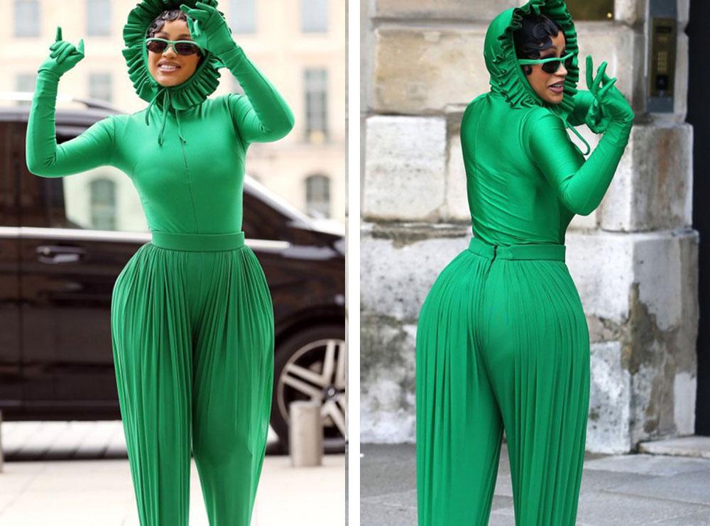 E veshur kokë e këmbë me jeshile, reperja Cardi B bëhet meme nga përdoruesit e rrjeteve sociale! Ja çfarë shkruajnë ata