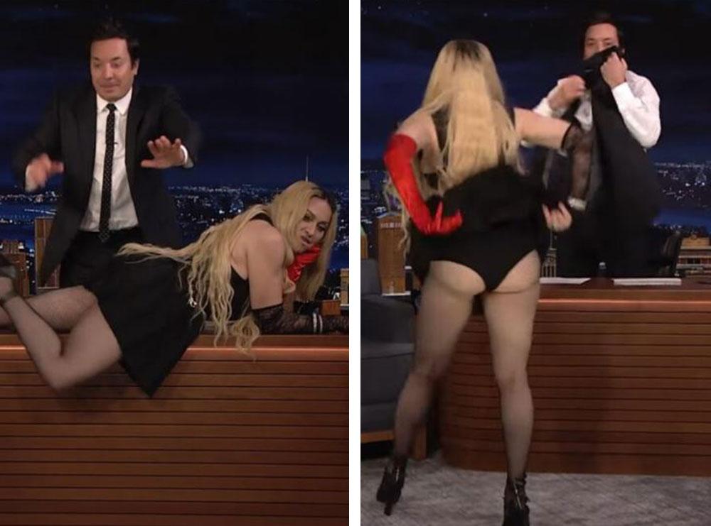 Madonna ndërpret intervistën dhe zvarritet në tavolinën e gazetarit! Kërcimi sensual i 63-vjeçares bëhet viral në rrjet